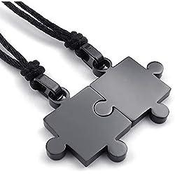 KONOV 2pcs Mens & Womens Couples Stainless Steel Puzzle Pendant Love Necklace Set, Black