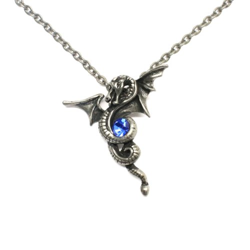 Linana Eternal Dragon Pendant Necklace Gothic Jewelry Winding Sapphire + Gift Bags