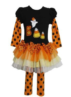 Girl's Orange Black Candy Corn Boo Tutu Set