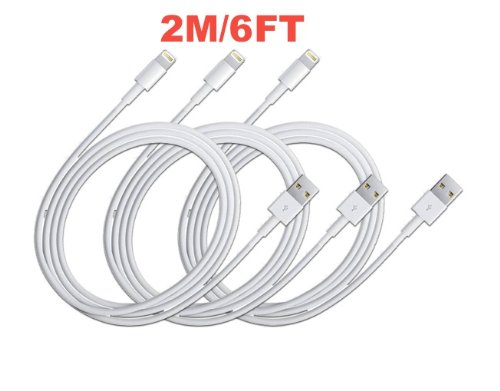 2020Products 3x iPhone 5s/5c/5 extra long 6.3ft 8 Pin to USB Charger Cable for iPhone 5 iPod Touch 5th Nano 7th Gen