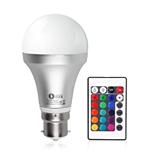 LE Colour Changing 5W A60 B22 LED Bulbs, 16 Colour Choices, Remote Included, Mood Lighting,bayonet led light bulbs by Lighting EVER