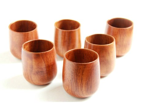Moyishi Top-Grade Natural Solid Wood Wooden Tea Cup Wine Mug 250Ml,6Pcs