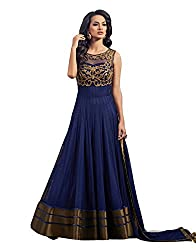 Best Amazone Dress Material Anarkali Type Women's Gown of Pure Georgette from spangel fashion (Blue Color gown type_Free Size)