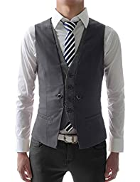 (VE34) TheLees Mens premium layered style slim vest waist coat Dark gray US L(Tag size 2XL)