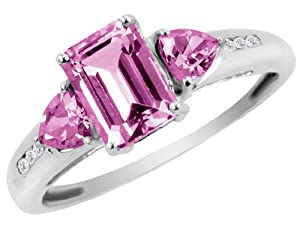 Created Pink Sapphire Ring with Diamonds 1.66 Carat (ctw) in 10K White Gold from MyJewelryBox