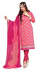 Jiya Presents Embroidered Chanderi Dress Material (Pink)