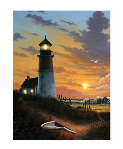 Ohio Wholesale Radiance Lighted Canvas Wall Art, Lighthouse Design, Water Collection