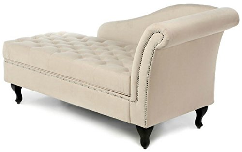 Traditional Storage Chaise Lounge - This Luxurious Lounger w/ Tufted Cushions is a Great Addition to Your Office, Living Room, or Bedroom -Made of Wood and Microsuede - Free eBook (Khaki) 4