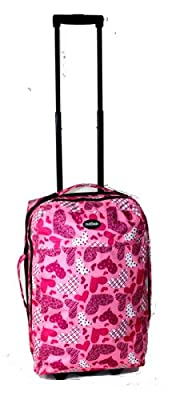 Small Wheeled Holdall Hand Luggage Suitcase Carry On Bag 54x33x20cm (Pink)