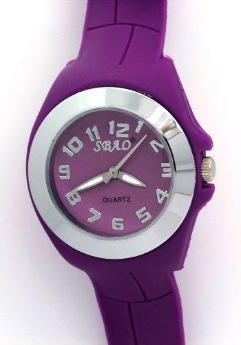 SBAO Ladies Women Purple Rubber Watchband Stainless Steel Bezel Case Quartz Analogue Watches