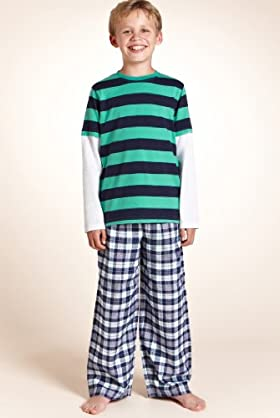 Older Boys' Pure Cotton Stripe & Check Pyjamas