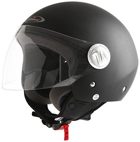 Scotland 100041 Casco da Moto/Scooter con Visiera Lunga, Unisex, Nero Opaco, 59-60