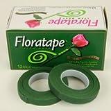 Floral Tape. 1/2'' X 30 Yards Color Green, 12 Rolls (Color: dark green, Tamaño: 1/2 x 30 yds)