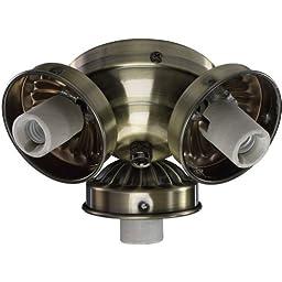 Quorum International 2303-90 3 Light Down Lighting Fan Light Kit, Antique Brass