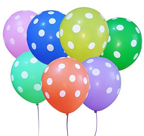 100 Ballon Gonflable De petits points Multicolore Diamètre de 30cm Déco pour Anniversaire Fête Mariage Enfant