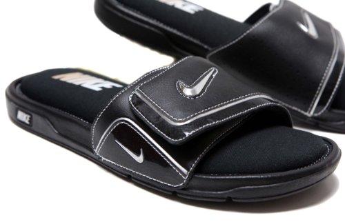 a8db9f892ec4 Nike Men s Nike Comfort Slide 2 Black White Silver Size 10