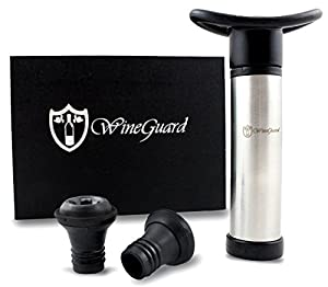 WineGuard Vacuum Wine Saver Pump and Two Stoppers in a Beautiful Gift Box - Easy-To-Use Preserver - Replaces Corks - Perfect Wine Accessory for Wine Lovers - Stop Wasting Your Leftover Wine - High-Quality Stainless Steel - Lifetime Guarantee