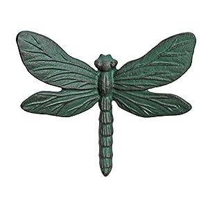 Wall Mountable Verdigris Cast Iron Dragonfly Garden Ornament from Gardens2you