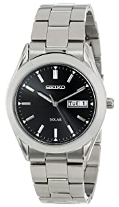 Seiko Men's SNE039 Solar Black Dial Watch