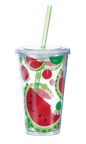 Boston Warehouse Picnic Party Watermelon Insulated Tumbler, 16-Ounce