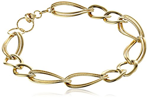14K Italian Yellow Gold Polished And Textured Link Bracelet, 7.5""