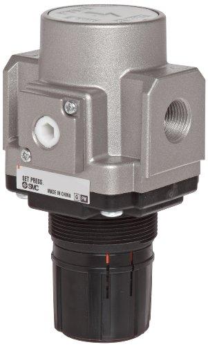 SMC AR20-02H Regulator, Relieving Type, 7.25 - 123 psi Set Pressure Range, 28 scfm, No Gauge, With Panel Nut, 1/4