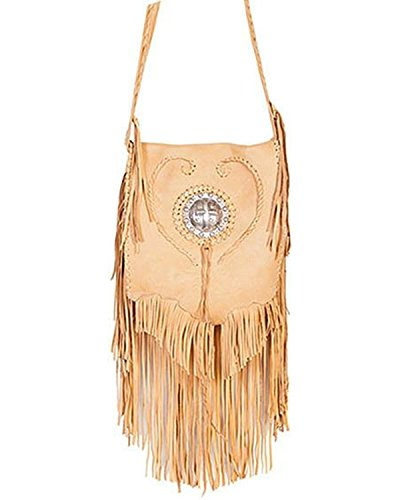 Scully Women'S Concho And Fringe Leather Shoulder Bag Tan One Size