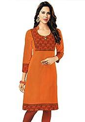 Salwar Studio Women's Orange & Red Cotton Floral Printed Kurti Fabric
