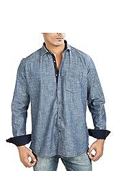 Faceman Men's Cotton Slim Fit Casual Shirt (1005_Blue_M)