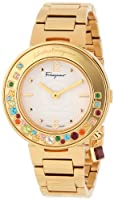 Salvatore Ferragamo Women's FF5020013 Gancino Sparkling Gold Ion-Plated Coated Stainless Steel Multi-Color Topaz Watch by Salvatore Ferragamo