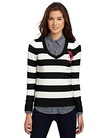 US Polo Assn. Juniors Wide Striped Sweater, Black, Small