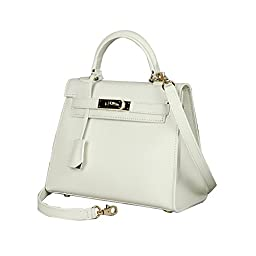 Fineplus Womens New Palm Print Leather Genuine Cross Bady Bags Off-White Medium