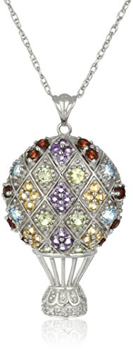 """Sterling Silver Multi-Color Gemstone and Diamond Accent Hot Air Balloon Pendant Necklace, 18"""""""