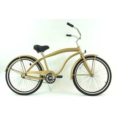 Men's Single Speed Beach Cruiser Color: Khaki Brown / Brown