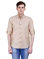 4Stripes Men's Cotton Linen Shirt (4ssh031_L_BIEGE)