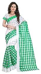 AVSAR PRINTS Women's Cotton Saree with Blouse Piece (Green)