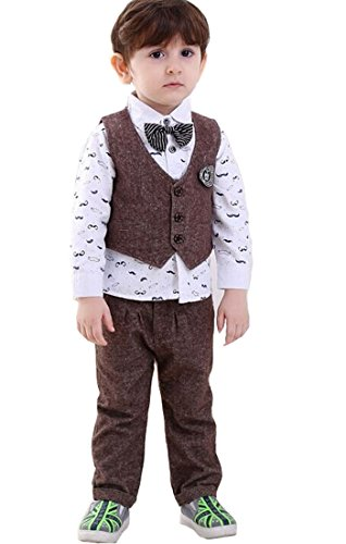 EGELEXY 3PC Boys Clothes Boy Outfit Kids Outfits Baby T-shirt + Vest + Pants