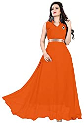 Femeie Apparel Women's A-Line Unstitched Dress (Orange)
