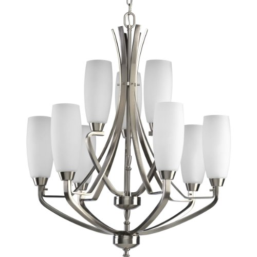 B001HBNAC6 Progress Lighting P4439-09 9-Light Two-Tier Westin Chandelier, Brushed Nickel