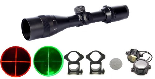 Ultimate Arms Gear 2-12X30 Mm Dual Red & Green Illuminated P4 Mil Dot Reticle Rifle Hunting Snipertactical Compact Scope +See Thru Flip Up Lens Caps, Ring Mounts, Battery & Lens Cleaning Kit