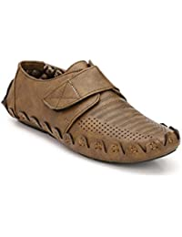 Zebx Comfortable Light Weight Tan Synthetic Leather Slip On Casual Loafers For Men/Boys