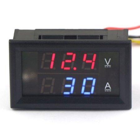 Riorand Small Digital Led Voltmeter Amperemeter 2In1 Dc 0-300V/0-200A Voltage Current Meter, Red&Blue