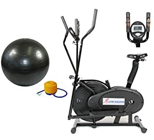 GYMMASTER 2 IN 1 ELLIPTICAL EXERCISE BIKE & CROSS TRAINER in BLACK Upgraded 2013 + FREE BLACK GYM BALL & P