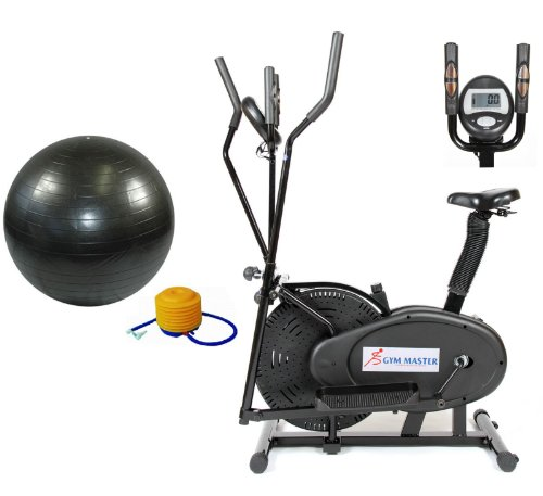 GYMMASTER 2 IN 1 ELLIPTICAL EXERCISE BIKE & CROSS TRAINER in BLACK Upgraded 2013 + FREE BLACK GYM BALL & PUMP, Model: CR-8.2DHA - 1 year warranty