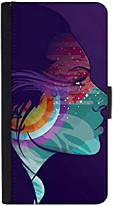 Snoogg Tattoo Lady Graphic Snap On Hard Back Leather + Pc Flip Cover Htc M8