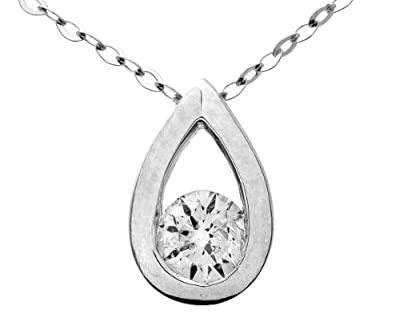 Ariel 9ct White Gold Quarter Carat Diamond Teardrop Pendant and Chain of 46cm