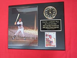 Hank Aaron Milwaukee Braves Collectors Clock Plaque w 8x10 VINTAGE Photo and Card by J & C Baseball Clubhouse