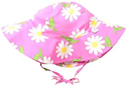 i play. Baby-Girls Infant Modern Brim Sun Protection Hat, Hot Pink Daisy, New Born/0-6 Months
