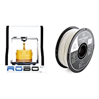 ROBO 3D R1 Plus 10x9x8-Inch ABS/PLA 3D Printer, White (A1-0002-000) and HATCHBOX 3D ABS-1KG1.75-WHT ABS 3D Printer Filament, Dimensional Accuracy +/- 0.05 mm, 1 kg Spool, 1.75 mm, White bundle