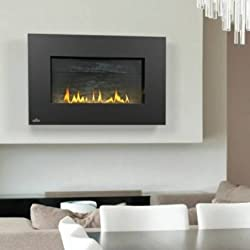 Napoleon WHVF31N Vent Free Plazmafire Wall Hanging Natural Gas Fireplace Complete With Slate Brick Panel Fuel Saving Electronic Ignition & Exclusive Topaz Crystaline Ember